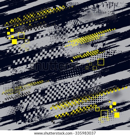 Seamless high-speed vector pattern in dark background  with yellow squares