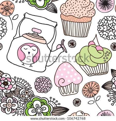 Seamless high tea flower cupcake owl background pattern in vector