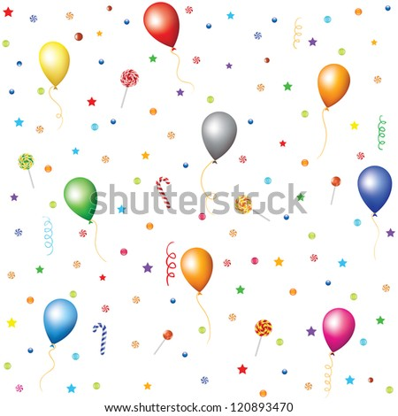 Seamless holiday background with candies, lollipops, confetti, stars, serpentine and balloons