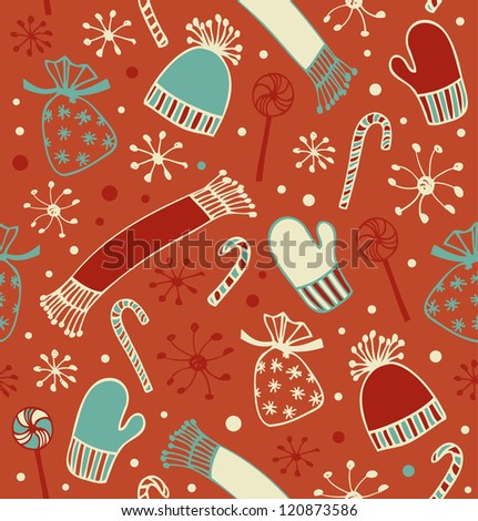 Seamless holiday Christmas pattern. Doodle lace backdrop with caps, scarfs, mittens and lollipops, sugarplums. Endless craft texture