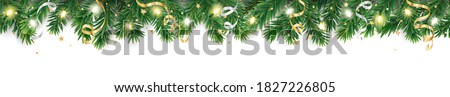 Seamless holiday decoration. Christmas tree border with lights garland. Festive frame isolated on white. Celebration vector background. For winter season banners, New Year headers, party posters.