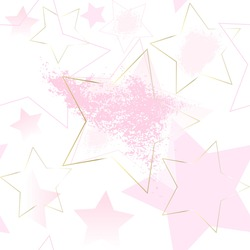 Seamless holiday pattern. Pink, golden stars on a white background. Abstract romantic background.