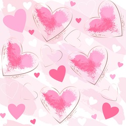 Seamless holiday pattern. Pink, white, gold hearts on a rose background. Abstract romantic background.