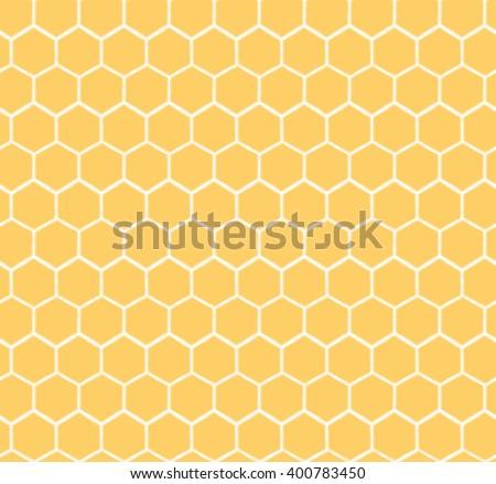 Stock Photo Seamless Honeycomb Pattern. Hand drawn yellow honey sweet background.  Honey pollinate. Yellow bee colony.