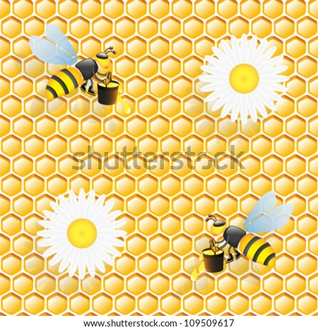 Seamless honeycomb pattern with bees and  flowers of chamomile