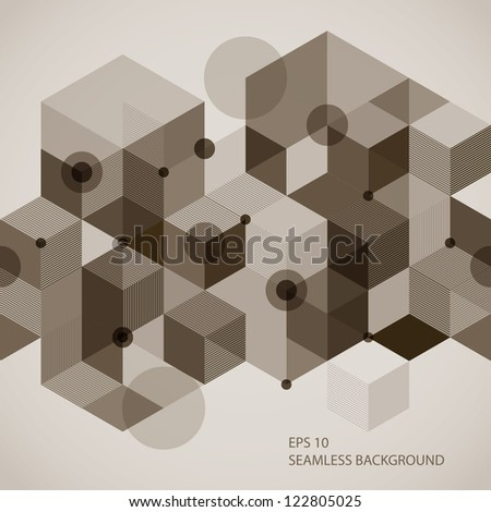 Seamless horizontal background with 3d elements, vector illustration.