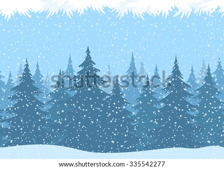 Seamless Horizontal Christmas Winter Forest Landscape with Snow and Fir Trees and Branch Silhouettes. Vector