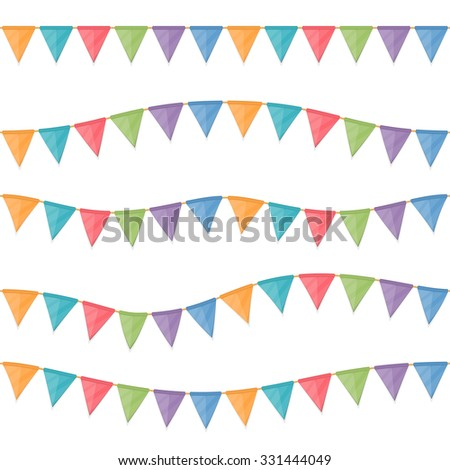 Seamless horizontal colored garland flags hanging on the rope, vector eps10 illustration