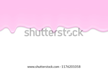 Seamless horizontal pattern with a flowing pink liquid, melting ice cream or yogurt, pink paint on a white background