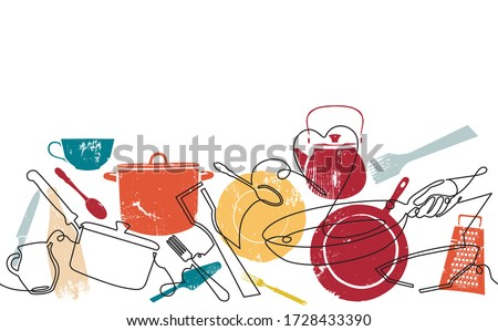 Seamless Horizontal Pattern with Utensils. Cooking Background. Vector illustration. Stockfoto ©