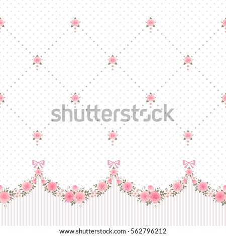 Seamless horizontally pattern with garlands of roses and polka dot rhombus vintage background. Vector floral border.