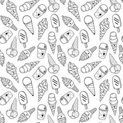 Seamless ice cream pattern, hand-drawn monochrome black and white background, ice-cream vector, ice cream background, EPS 8