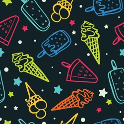 Seamless icecream pattern with neon colors - seamless background texture, great for summer themed fabrics, wallpapers, menus or banners.