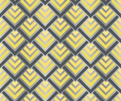 Seamless illuminating yellow and ultimate gray gradient geometric squares pattern. Art deco vector illustration