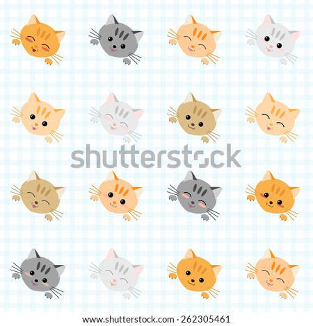 Seamless illustration with cute cats. Japanese manga style. Kawaii joyful cats. Kitten background. Endless texture. Plaid backdrop pattern. Animal vector pattern.