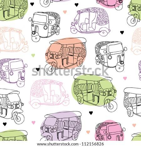 Seamless india travel auto rickshaw illustration background pattern in vector