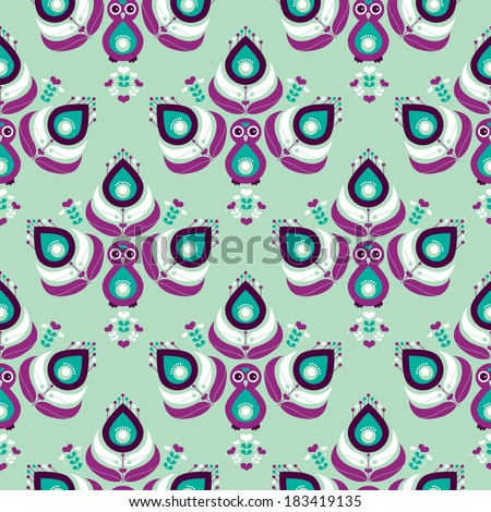 Seamless Indian mint and purple peacock bird exotic illustration background pattern in vector