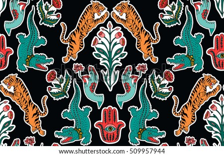 Seamless indian pattern. Set of stickers, pins, patches and handwritten notes collection in cartoon.Leopard, crocodile, hamsa, flower, plant. Vector illustration