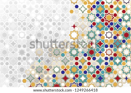 Seamless Islamic ornamental Background in color. Islamic ornamental colorful detail of mosaic. arabic, east ornament, indian ornament, persian motif, 3D.  Ramadan Kareem gold greeting card, banner