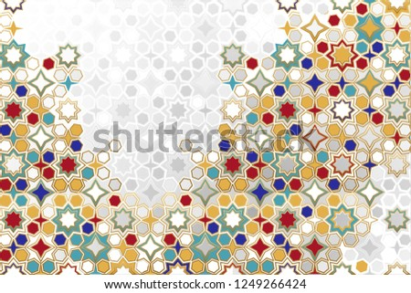 Seamless Islamic ornamental Background in color. Islamic ornamental colorful detail of mosaic. arabic, east ornament, indian ornament, persian motif, 3D.  Ramadan Kareem gold greeting card, banner