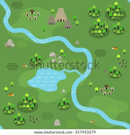 seamless jungle map in flat