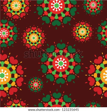 Seamless kaleidoscope floral vector repeat background