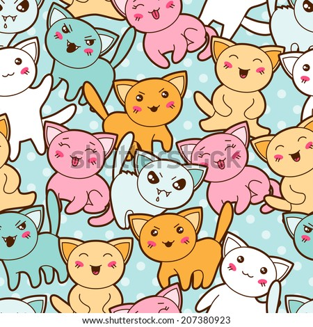 seamless kawaii cartoon pattern