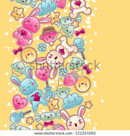 seamless kawaii child pattern