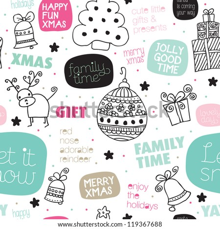 Seamless kids christmas greeting card typography illustration background pattern in vector