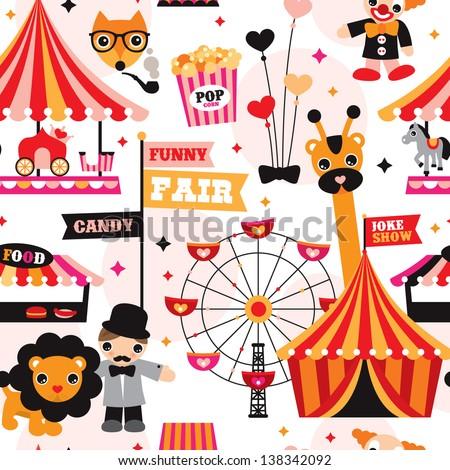 seamless kids circus fun fair
