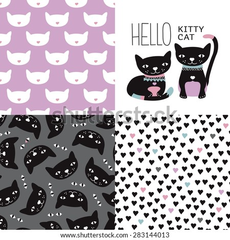 Stock Photo Seamless kids colorful girls kitten and cats postcard cover design and background pattern set with violet kitten hearts and halloween night black cats in vector