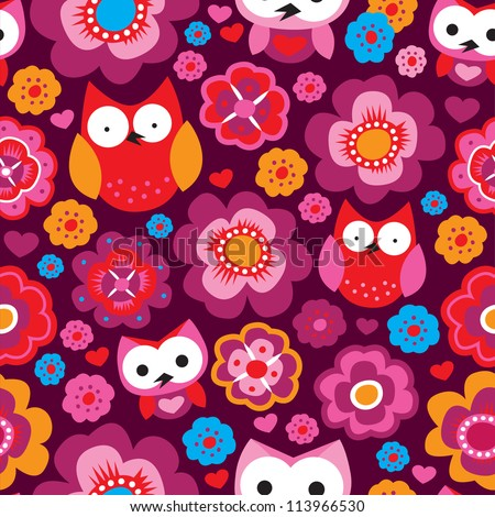 Seamless kids retro owl flower background pattern in vector