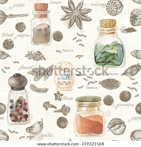 Seamless kitchen background of hand-drawn and watercolor spices, vector illustration in vintage style.