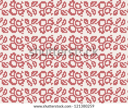 seamless knitted christmas pattern with flowers