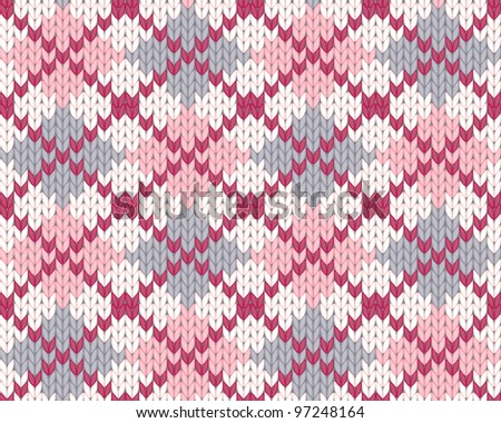 Seamless knitted pattern with rhombus for clothing. EPS 8 vector illustration.