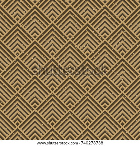 Seamless kraft paper brown and black grunge art deco square chevrons pattern vector