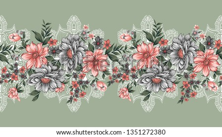 seamless lace and flower border #1351272380