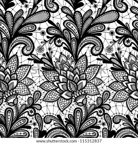 Seamless Lace Floral Pattern Vintage Invitation Grunge Background With Ornament Black And