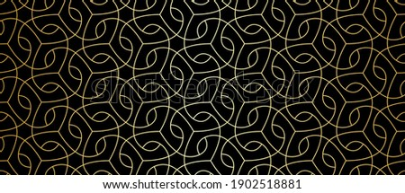Seamless lace pattern with golden thin curl lines and scrolls. Monochrome abstract floral pattern. Decorative lattice in Arabic style. Endless thread and loops.