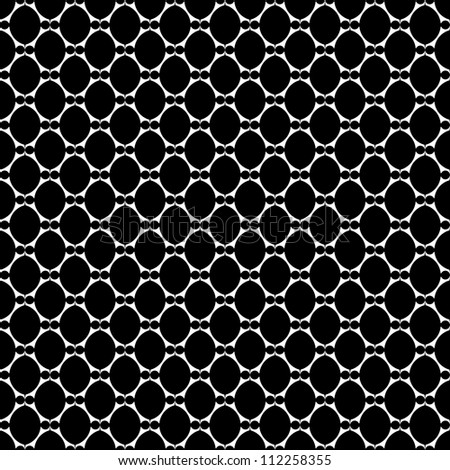 Seamless laced texture with oval elements. Vector art.