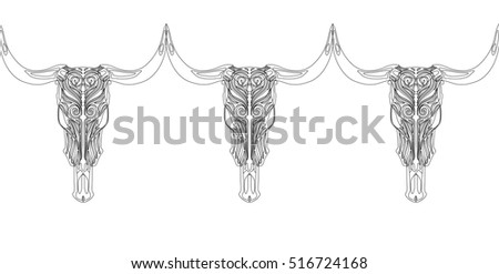 Seamless Lacy Background with Stylized Cow Skulls. Vector Illustration. Vector Pattern. Freehand Drawing. Free Hand Drawing. Art Nouveau Style.