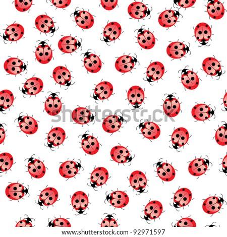 Seamless ladybug pattern. Illustration of a designer on a white background