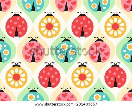 seamless ladybugs cartoon