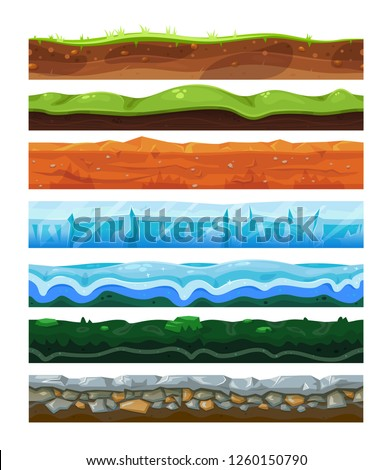 Seamless land horizontal layers set, geology and environment concept. Water and solid surface. Vector flat style cartoon illustration isolated on white background Stock photo ©