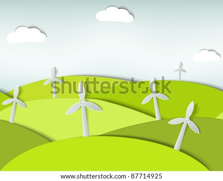 seamless landscape with wind turbines