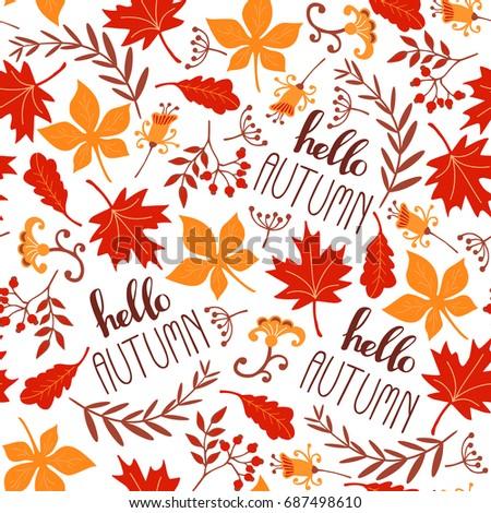 Seamless leaf pattern. Autumn background. Vector illustration