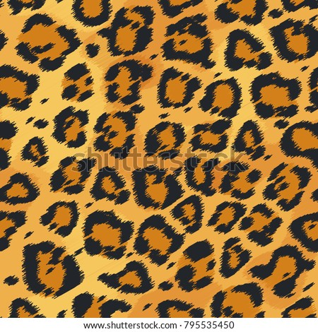 Seamless leather texture. Leopard fur texture. Leopard pattern, animal safari skin texture. Animal print. Vector illustration. Design elements for your projects, fabrics, prints, wallpaper, wrapping