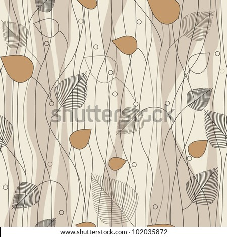 Seamless Leaves and trees pattern, on ivory background color variation. Pattern color swatch included