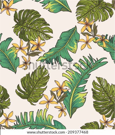 seamless leaves print pattern background