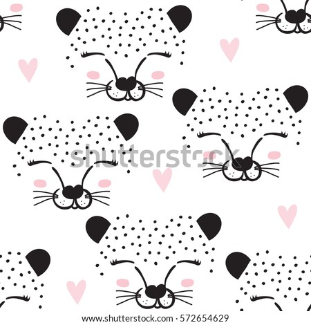 seamless leopard face pattern